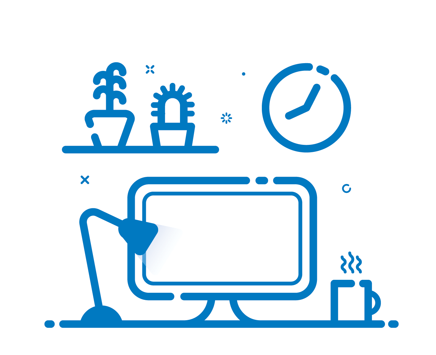 Drawing of a computer and a desk with coffee cup on it and a clock